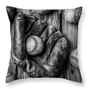 Many Baseballs In Black And White Throw Pillow