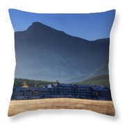Many Glacier Hotel Throw Pillow