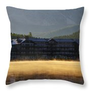Many Glacier Hotel Sunrise Panorama Throw Pillow