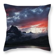 Many Glacier Sunset Throw Pillow