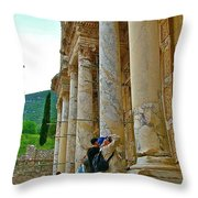 Many Photographers At Library Of Celsus-ephesus Throw Pillow