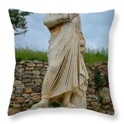 Many Sculptures Lost Their Heads In Ephesus-turkey Throw Pillow