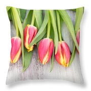 Many Spring Tulip Flowers On White Wood Table Throw Pillow
