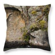 Maori Rock Art Throw Pillow