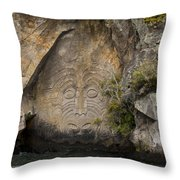 Maori Rock Carving Throw Pillow