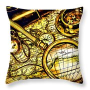 Map And Compass Throw Pillow