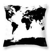 Map In Black And White Throw Pillow