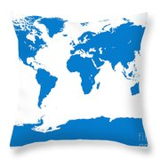 Map In Blue Throw Pillow