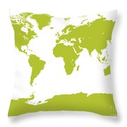 Map In Chartreuse Green Throw Pillow