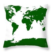 Map In Forest Green Throw Pillow
