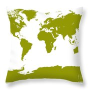 Map In Olive Green Throw Pillow