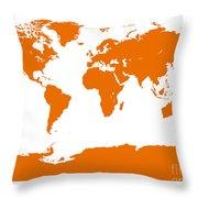 Map In Orange Throw Pillow