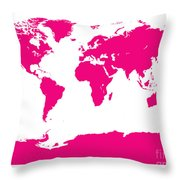 Map In Pink Throw Pillow