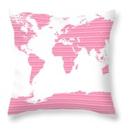 Map In Pink Stripes Throw Pillow