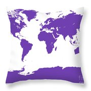 Map In Purple Throw Pillow