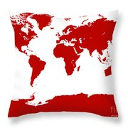 Map In Red Throw Pillow