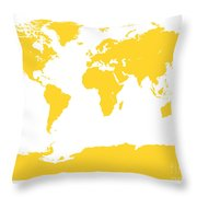 Map In Yellow Throw Pillow