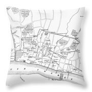 Map: London, 13th Century Throw Pillow