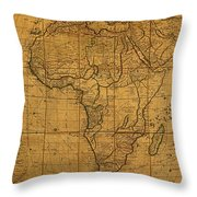 Map Of Africa Circa 1829 On Worn Canvas Throw Pillow