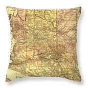 Map Of Arizona 1883 Throw Pillow