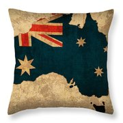 Map Of Australia With Flag Art On Distressed Worn Canvas Throw Pillow
