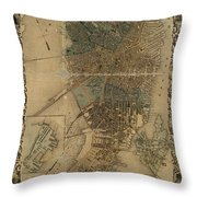 Map Of Boston 1852 Throw Pillow