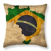 Map Of Brazil With Flag Art On Distressed Worn Canvas Throw Pillow