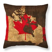 Map Of Canada With Flag Art On Distressed Worn Canvas Throw Pillow
