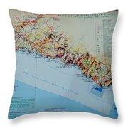 Map Of Cinque Terre Throw Pillow