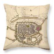 Map Of Copenhagen 1837 Throw Pillow