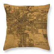 Map Of Denver Colorado City Street Railroad Schematic Cartography Circa 1903 On Worn Canvas Throw Pillow