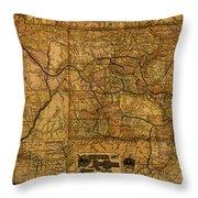 Map Of Denver Rio Grande Railroad System Including New Mexico Circa 1889 Throw Pillow