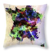 Map Of France In Watercolor Style Splash Throw Pillow