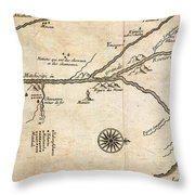 Map Of French Discoveries In America 1673 Throw Pillow