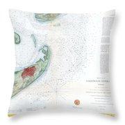 Map Of Galveston City And Harbor Texas Throw Pillow