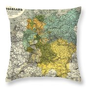 Map Of Germany 1861 Throw Pillow
