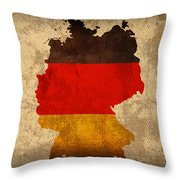 Map Of Germany With Flag Art On Distressed Worn Canvas Throw Pillow