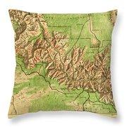 Map Of Grand Canyon National Park Throw Pillow