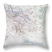 Map Of Greece Throw Pillow
