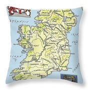 Map Of Ireland Throw Pillow by English School