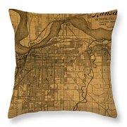 Map Of Kansas City Missouri Vintage Old Street Cartography On Worn Distressed Canvas Throw Pillow