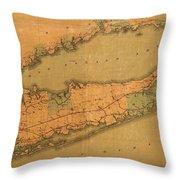 Map Of Long Island 1888 Throw Pillow