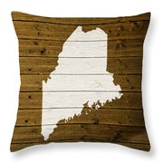 Map Of Maine State Outline White Distressed Paint On Reclaimed Wood Planks. Throw Pillow