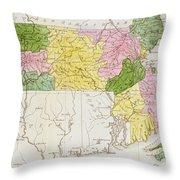Map Of Massachusetts, From Historical Collections Of Massachusetts, By John Warren Barber, 1839 Throw Pillow