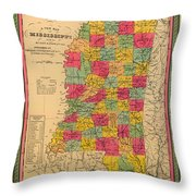 Map Of Mississippi 1850 Throw Pillow