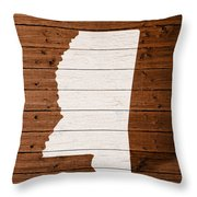 Map Of Mississippi State Outline White Distressed Paint On Reclaimed Wood Planks. Throw Pillow