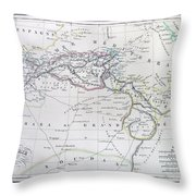 Map Of North Africa Or Barbary Throw Pillow