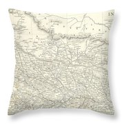 Map Of North India Nepal And Allahabad Throw Pillow
