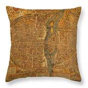 Map Of Paris France Circa 1550 On Worn Canvas Throw Pillow