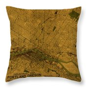 Map Of Portland Oregon City Street Schematic Cartography Circa 1924 On Worn Parchment  Throw Pillow